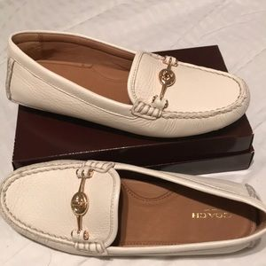 Coach White Leather Arlene Loafers/Flats